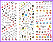 3 PACKS / LOT MOSAIC DIAMOND TONGUE KISS NAIL TATTOOS STICKER WATER TRANSFER DECAL NAIL ART HOT226-228