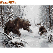 RUOPOTY Struggle Animals Diy Digital Oil Painting By Numbers Kits Acrylic Picture Modern Wall Art Picture For Home Decoration(China)