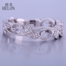 HELON Vintage Filigree Eternity Art Nouveau Band Pave Natural Diamonds Engagement Wedding Ring Solid 10k White Gold Diamond Ring