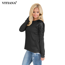 VITIANA Women Loose Casual Shirt Female Autumn Black Purple Long Sleeve Tops Tee Elegant Cotton T-shirt With Sequin Shirts(China)