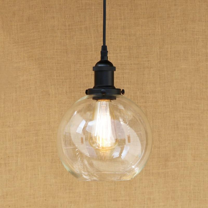 Modern Spherical glass shade pendant lamp Edison bulb Pendant Light Fixture For Kitchen Lights/dining room/bar E27 220V<br>