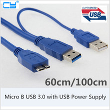 5Gbps Micro B USB 3.0 External hard Drive Cable with USB Power Supply For WD Passport Seagate Samsung M3 Toshiba SONY ADATA