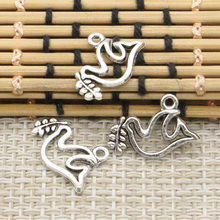 Buy 10pcs Charms peace dove olive 20*13mm Tibetan Silver Plated Pendants Antique Jewelry Making DIY Handmade Craft for $1.00 in AliExpress store