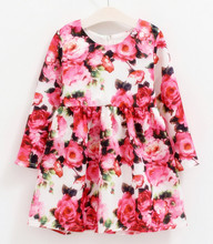 2016 new Hand-painted drawing baby girls holiday dress,Children clothing,rose princess girl dress flower kids dresses for girls