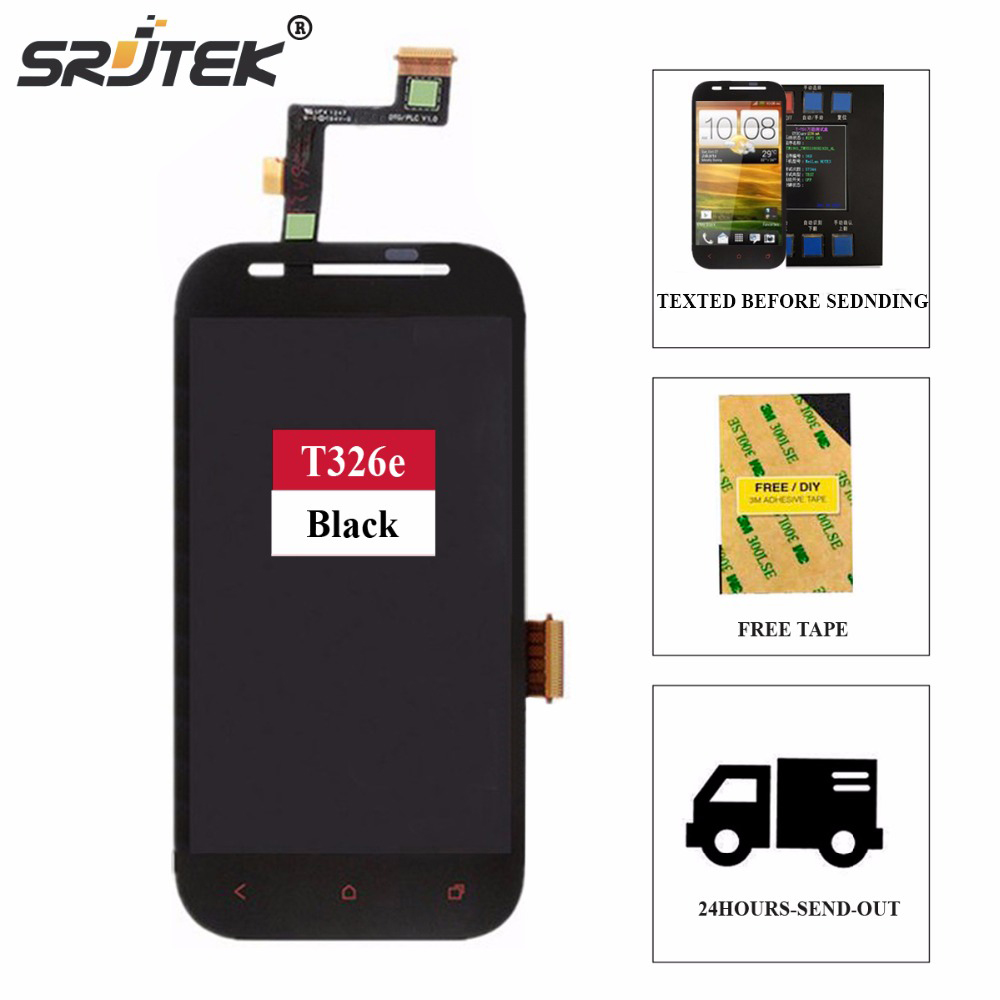 Srjtek screen For HTC Desire SV T326E LCD Display + Touch Digitizer Sensor Glass Assembly 4.3inch 800*480 Black Assembly(China (Mainland))