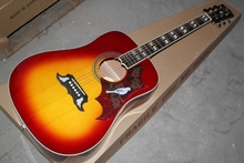 Factory Custom 41 inch DOVE 20 frets rounded corner tobacco sunburst acoustic guitar with electric guitar's pickup