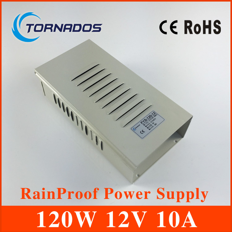 12V 10A 120W rainproof Switching led Power Supply,170~264V AC input 12V DC output for led strips free shipping FY-120-12<br>