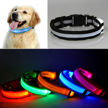 High Quality 2.5cm octopus mesh polyester translucent surface emitting LED Pet dog collar Rain resistant collar