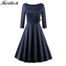 Buy Kostlich 2017 Elegant Summer Dress Women 3/4 Sleeve Swing 50s 60s Vintage Dress Solid Color Ladies Party Dresses Plus Size 3XL for $38.45 in AliExpress store
