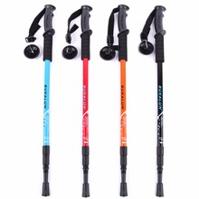 Professional Aluminum Alloy Outdoor Hiking Walking Sticks Ultralight Adjustable Alpenstocks Trekking Pole 4 Sections 4 Colors