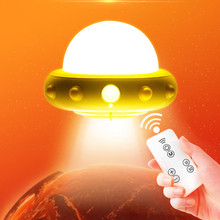 Novelty UFO Led Night Light With Remote Control Adjustable Brightness Plug In 220V LED Night light Dimmable Wall Light for Baby(China)