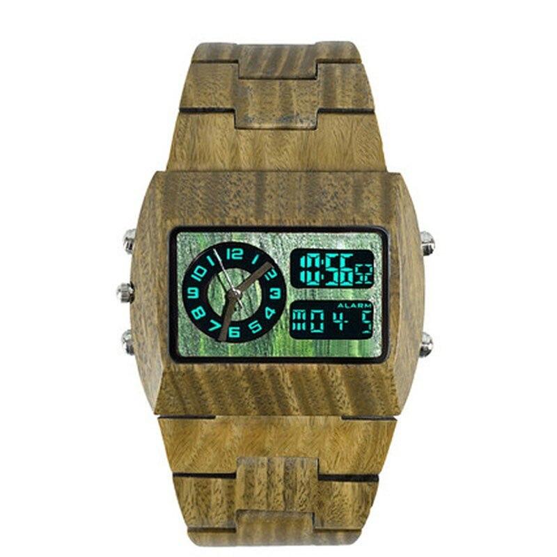 Luxury Brand Mens wooden watch 2016 Hot selling led show analog digital wood watch men analog digital Luminous Wood wrist watch<br>