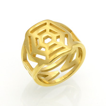 2017 Fashion Brand Gold-Color Stainless Steel Love Hollow Spider Web Hexagon Rings Woman Man Party Wedding Gift(China)