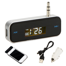 Car Style Wireless Rechargeable Car Kit 3.5mm In-Car Handfree FM Transmitter + USB Car Charger for ipod Smartphone MP3 MP4(China)