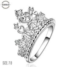 Sommar Crown Ring Girls Fashion Princess Tiara Ring Wedding Finger Rings with S925 Marked Engagement Ring Party Jewelry