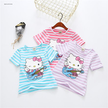 BAICLOTHING 2017 Summer Girls Tops Children Cotton Short Sleeve Tshirts Kids Hello Kitty Tees Base Stripe Shirts 3 Colors 2-6Y