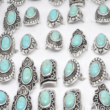 Wholesale 5pcs/lot Mix Styles Vintage Natural Stone Big Rings Retro Tibet Silver Plated Ring Assorted Femal Jewelry