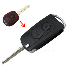 EKIY High Quality For Ssangyong Actyon SUV Kyron 2 buttons Flip Folding Car Key Remote modified flip key shell Case With Logo