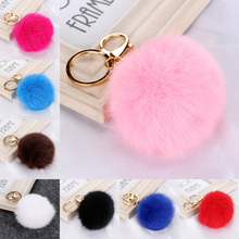 10 Colors Charm Rabbit Fur Keychain Ball Keyrings Girls Gift Pendant Pom Pom Keychains Key Chains Rings For Bags Car Cell Phone
