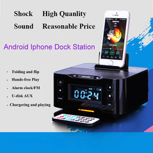 Portable Loudspeaker A9 Bluetooth Speaker NFC Dock Station for Apple Samsung XIAOMI ipod/touch/iphone 6 /7/7P clock With USB Aux