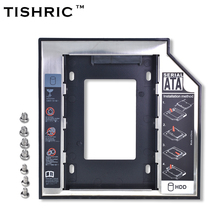 "TISHRIC Aluminum+Plastic Universal 2nd HDD Caddy 9.5mm SATA 3.0 2.5"" SSD Case Hard Disk Drive Enclosure ODD Optical Bay(China)"