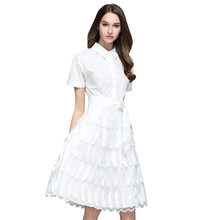 2017 New Summer Women dress Patchworklt Heavy Feather Tassels Place Collect Waist Dresses White 869