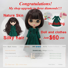 free shipping factory blyth doll 300BL9219 deep purple hair With Bangs/fringes normal body green dress pink shoes random stand