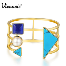 Viennois Gold Color Geometric Cuff Bangles for Woman Bohemian Simulated Bangle Blue Fashion Simulated Pearl Jewelry