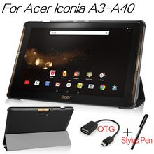 Top Quality Smart PU Leather Cover for Acer Iconia Tab 10 A3-A40 A3 A40/B3 A30 10.1 inch Tablet Case With Free Stylus Pen+OTG
