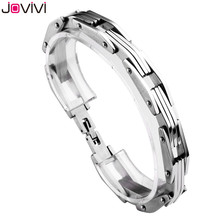 "2017 JOVIVI Men Women Solid Stainless Steel Mens Bracelet Bike Chain Wide Motorcycle Heavy Bangle Unisex Bracelet Jewelry 8.4""(China)"