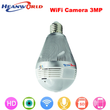 Heanworld newest hd h.264+ 3mp wifi camera two way audio 360VR intelligent bulb support micro sd card security camera(China)
