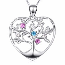 PYX0068 100% Real Pure 925 Sterling Silver Tree Of Life Love Heart Pendant Necklace Romantic Jewelry Christmas Gift For Women
