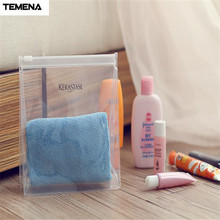 TEMENA Transparent PVC Waterproof Cosmetic Bag  Women Fashion Cosmetic Bag Travel Admission Package ACB584A