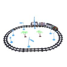 Electric Simulation Train Track Toys Kids 4 Parts Trains Plastic Railway Track Slot Running Train Toys Children Birthday Gift(China)