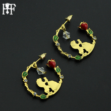 2017 Beauty and the Beast earrings in Stud Earring Belle Cosplay Jewelry Rose Earring with Swing crystal beads Party Accessories(China)