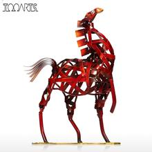 Tooarts Metal Figurine Modern Metal Vintage Home Decoration Weaving Horse Figurine Handicrafts Animal Craft Gift For Home Office(China)