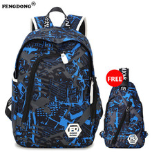 FENGDONG Waterproof Oxford Fabric School Backpack for Teenagers Pencil Case Blue Book Bag backpack male One Shoulder Schoolbag