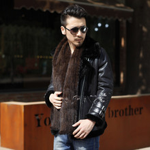 2016 New Hot Luxury big mink fur scarves and winter scarves Korean men knit scarves