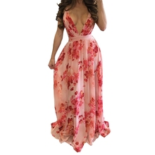 Buy Holiday Floral Print Long Vestidos Tunic 2018 Beach Boho Deep V Neck Beach Maxi Dress Shoulder Women Summer Chiffon for $14.42 in AliExpress store