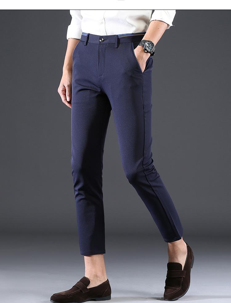 2018 Pring Summer Brand Clothing Men Casual Pants Business Slim Fit Elastic Ankle-length Pants Men's Skinny Pants Men Trousers 7