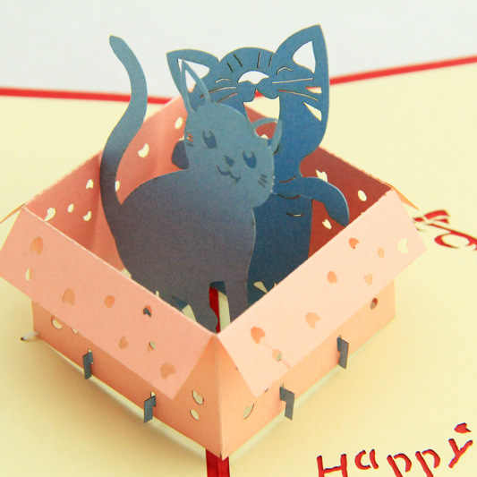 (5P/Lot) Cat in a Box Valentine's Day Cards Handmade creative design craft post card 3D Greeting Cards with envolope 11*15cm