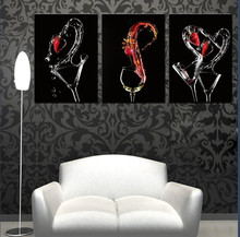 Large Wine Glass Wall Canvas Painting 3 Panels Contemporary Art Posters Oil Painting Kitchen Room Wall Pictures For Decoration