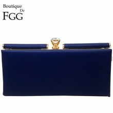 Navy Blue Gold Plated Women Large Diamond PU Casual Clutch Bag Formal Business Office Lady Metal Clutches Shoulder Handbag Purse(China)