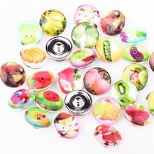 Mix Style 10pcs Colorful Snap Buttons in Vegetable Fruits Pattern Silver Plated Glass Cabochon Jewelry Charm Fit 18mm Buttons(China)