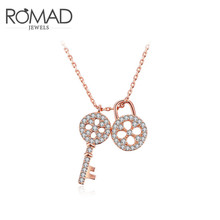 2017 Romad Charms Key Lock Crystal Long Necklace Rose Gold Color Wedding Zircon Pendant Chains Jewelry Romantic Mother's Gifts