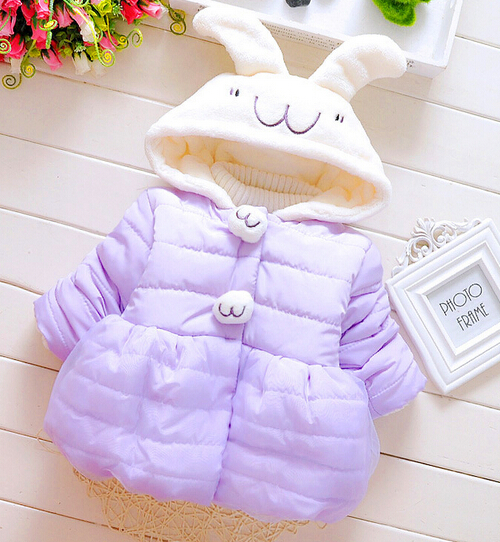 New 2017 Baby Girls  cute long ears rabbit cotton-padded clothes Warm Outerwear Kids Winter Clothes Baby Girls ParkasОдежда и ак�е��уары<br><br><br>Aliexpress