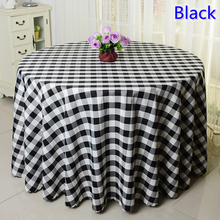 Black round polyester table cloth checked pattern table cover wedding decoration wholesale plain print pattern table coloth(China)