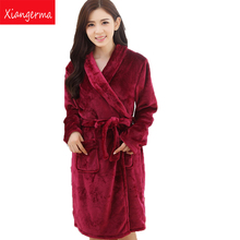 Ladies Sexy Orchid Flannel Pajama Set Pyjama long Sleeve Pijama V-neck Sleepwear winter Home Wear For Women free shipping(China)
