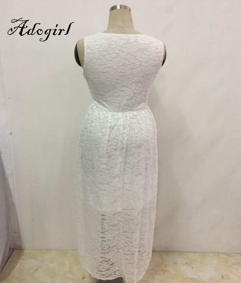 Adogirl 2017 Summer Sexy White Lace Plus Sizes 3XL 4XL Hi-Low Dresses-6
