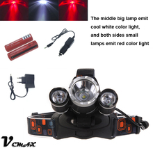 VICMAX 5000Lm XML T6+2R5 Red LED Headlight Headlamp Head Lamp Light 4-mode +Rechargeable battery+ AC Car charger for torch